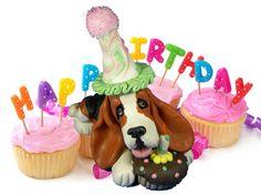 Basset Happy Birthday Animals, Happy Birthday Dog, Happy Birthday Pictures, Animal Birthday, Dog Sculpture, Basset Hound, Dog Names, Cake Toppers, Birthday Cards