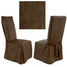 Chenille Dark Chocolate dining chair cover is simply gorgeous. Offers luxurious, soft to the touch chenille that is durable and machine washable.