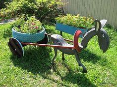 Enfeite para jardim de pneu Velho