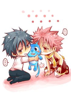 Happy, Gray Fullbuster and Natsu Dragneel #fairy tail