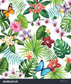Seamless pattern with palm leaves, tropical flowers and butterflies. Vector illustration.