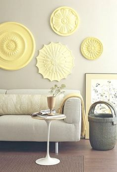 Pastel Yellow Medallions On The Wall #pattern #yellow #decor