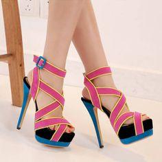 (US$18.49) Fashion Stiletto High Heel Cross Strap Red PU Sandals on www.lovelywholesale.com