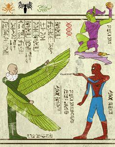 Hero-glyphics Spiderman Josh lane illustration