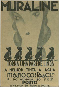 "Muraline, 5, April 19, 1930. The Portuguese ""Film Chronicle"" magazine's distinctive advertisement created by designer/illustrator, Lazarus."