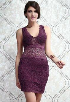 288aa40676f Allover Lace Strappy Fitted Cup Bodycon Dress LAVELIQ Dark Purple Dresses