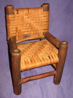 Early Antique Primitive Folk Art Wood Doll Chair Woven Cane Seat Back Pegged