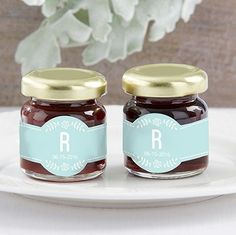 Personalized Strawberry Jam with rustic theme labels.