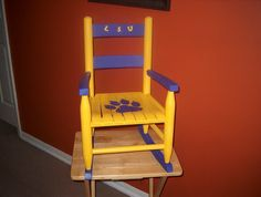 LSU Tigers Child Rocking Chair Furniture by pcbartandgifts on Etsy, $99.99