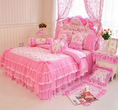 MeMoreCool Home Textile Elegant Design Pastoral Style Floral Lace Princess Bedding Set Girly Ruffle Duvet Cover Fashion Exquisite Falbala Bed Skirt Twin Size ** Find out more about the great product at the image link. Pink Bedding Set, Queen Bedding Sets, Luxury Bedding Sets, Floral Bedding, Bedding Master Bedroom, Girls Bedroom, Bedroom Decor, Bedroom Ideas, Bedrooms