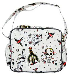 Sourpuss Punk Rockabilly Baby Diaper Bag Tattoo Flash - I will own this! I love Sourpuss stuff Baby Momma, Baby Love, Gothic Baby, Hansel Y Gretel, Baby Diaper Bags, First Baby, Baby Accessories, Baby Gear, Future Baby