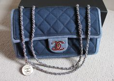 Chanel Spring Summer 14 Blue Denim Medallion Silver Chain Flap Bag | eBay