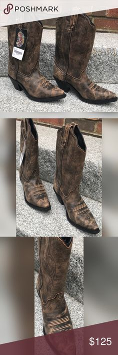 NWT - Distressed Brown Cowboy Boots 8W sizing is just a bit big for my 7 1/2. However passing the good deal on them and trying to just make my money back or close to it . Hope someone can love these the way I couldn't . I also have brand new pair in black too — these are $300 dollar boots— I'm offering free shipping on these and with posh fees I wouldnt be able to take any lower offers  unless your buying both pairs I have listed Shoes Heeled Boots
