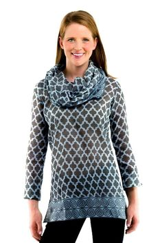Funnel Tunic in Moorish Charcoal/Blue by Gretchen Scott Designs. Gretchen Scott's fall line incorporates the best of her summer line: its flattering shapes, catchy designs, and eye-catching detail! #GretchenScottDesigns #preppy #tunic #shirt http://www.countryclubprep.com/funnel-tunic-in-moorish-charcoal-blue-by-gretchen-scott-designs.html