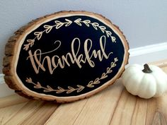 Tree Slice Plaque with Gold Hand-lettering