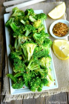 5-Minute Spicy Lemon Broccoli from NoblePig.com