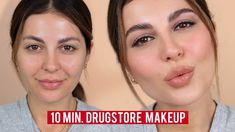 I wanted to do my updated 10 minute makeup tutorial since you really enjoyed the last one, but this time using all drugstore brands. Revlon Makeup, Drugstore Makeup, Eye Makeup, Makeup Tutorials Youtube, Beauty Tutorials, Contour Palette, Eye Palette, Liquid Liner, Lip Liner