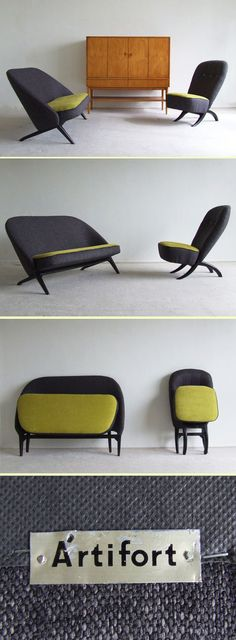 Designer: Theo Ruth    Manufacturer: Artifort Holland    Scarce original black wooden frame    Reupholstered in yellow and black    Seatingheight : 35cm    	  	     	  	   Condition : 	Excellent condition (reupholstered) 	   Price : 	€ 1850,- (the set) 	        	  	   Dimensions : 	  	   Heigth : 	74 cm / 29.1 inch 	   Width : 	133 cm / 52.4 inch 	   Depth : 	75 cm / 29.5 inch