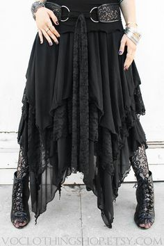 LAYERED sheer mesh and lace maxi skirt by voclothingshop Witch Fashion, Dark Fashion, Gothic Fashion, Boho Fashion, Steampunk Fashion, Modest Fashion, Lace Maxi, Lace Skirt, Mode Steampunk