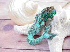 Mermaid Pendant Turquoise Necklace Nautical by MySelvagedLife, $26.00