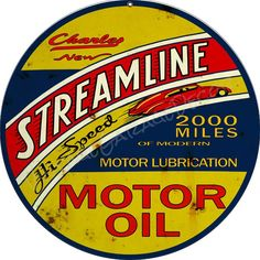 """Create a Unique Vintage Garage Look with our Products. This is a reproduction of a vintage """" Charley Streamline Motor Oil """" Advertising Metal Sign. Made in the USA. Vintage Oil Cans, Vintage Metal Signs, Vintage Tools, Vintage Style, Man Cave Garage, Garage Art, Garage Signs, Advertising Signs, Vintage Advertisements"""