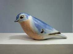 Andersen Design Stoneware Eastern Bluebird Sculpture, long, Handcrafted in the USA