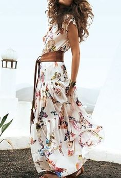 Maxi dress with butterfly print and belt love love!!!!!!!