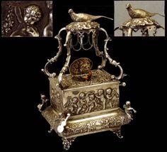MMM Symphonion: Sterling Silver Mechanical Singing Bird Box Automaton
