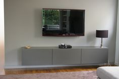 stylish living room Cabinet with hngendem TV from Lauer JOINERY www.schreinerei-l. Ikea Tv Wall Unit, Tv Wand, Tv Unit Decor, Sweet Home, Living Room, Joinery, Bedroom, Cabinet, Stylish