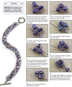 Free pattern and tutorial for beaded bracelet. Made by beadweaving seed beads with two hole beads. Diy bead jewellery making Seed Bead Bracelets Tutorials, Beaded Bracelets Tutorial, Jewelry Making Tutorials, Beading Tutorials, Beading Patterns, Free Seed Bead Patterns, Seed Bead Jewelry, Bead Jewellery, Jewellery Making