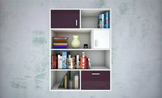 White Wall Unit with Open Shelf Boxes & single Closed Cabinets & Drawers in a Random Sizes & Placements for Keeping 📚 Books & ✨ Décor Items - GharPedia Open Shelving, Shelves, Cabinet Drawers, White Walls, Decorative Items, Bookcase, Storage Units, The Unit, House Design