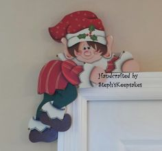 Hand painted Holiday Elf Door Hanger Door by stephskeepsakes,