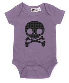 Diamond Checker Skull Lavender & Black One Piece by My Baby Rocks baby and toddler clothes