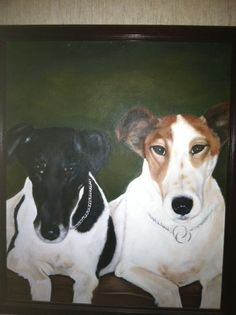 Oil portrait of Quisi (Billy) & Jesse my smooth fox terriers at 10 & 7 yrs