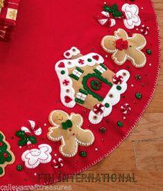 Bucilla ~ Gingerbread House ~ 43 Felt Christmas Tree Skirt Kit Z Christmas Stocking Kits, Felt Christmas Stockings, Felt Christmas Ornaments, Christmas Sewing, Christmas Gingerbread, Christmas Holidays, Christmas Decorations, Christmas Tree Skirts, Gingerbread Men