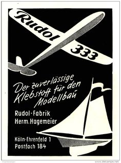 Original-Werbung/ Anzeige 1959 - RUDOL KLEBSTOFF FÜR MODELLE / HAGEMAIER - KÖLN - EHRENFELD - ca. 65 x 90 mm