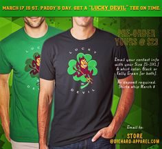 Sun Devils get their Green on for St. Paddy's Day. Pre-order your LUCKY DEVIL Tee now!   Email your contact info with your Size (S-3XL) & shirt color: Black or Kelly Green (or both).  No deposit required / Shirts ship March 8. Email your info to Store@Diehard-Apparel.com