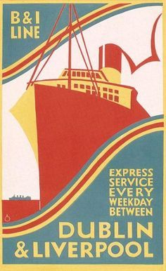 B&I Shipping Service Travel Poster Print, Dublin and Liverpool