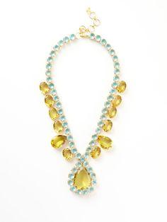 Lemon Quartz & Blue Topaz Necklace by Bounkit