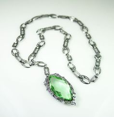 Art Deco Rhodium Plated Peridot Green Glass by zephyrvintage, $145.00