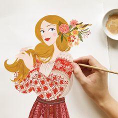 Work in progress. Pretty Art, Cute Art, Gouache, Art Drawings For Kids, Ukrainian Art, Cute Illustration, Watercolor Print, Cartoon Art, Art Inspo