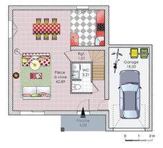 Plan habillé  - maison - La qualité à prix étudié RDC - Idée bloc WC / Escalier - Garage à agrandir vers la cuisine pour cellier / buanderie