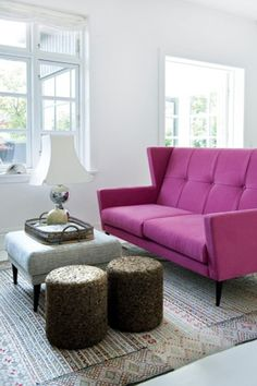 Pink Sofa Design White Walls Dining Area