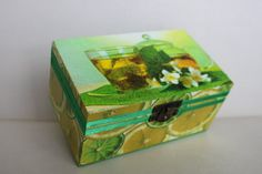 Green 2 Sections Wooden Tea Box Decoupage by Jurosihandmade