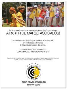 Tus hijos pequeños ya forman parte de la familia del Club Comunicaciones!!!