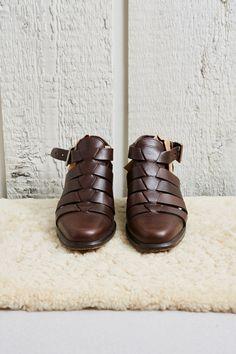 1990s Via Spiga Brown Leather Heeled Gladiator Sandals  8 W by SoftServeVintage