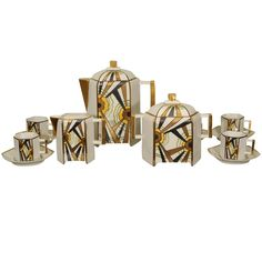 Art Deco Limoges Coffee Set | From a unique collection of antique and modern tea sets at https://www.1stdibs.com/furniture/dining-entertaining/tea-sets/