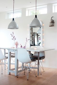 Love the small windows letting light in without breaking the uninterrupted beauty of a white wall