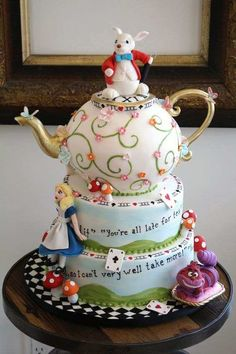 Bobbette and Belle, Alice in Wonderland Cake. & Happiness Kittiyachavalit Brave, Alice in Wonderland party? Pretty Cakes, Cute Cakes, Beautiful Cakes, Amazing Cakes, Mad Hatter Cake, Mad Hatter Tea, Mad Hatters, Super Torte, Alice In Wonderland Cakes