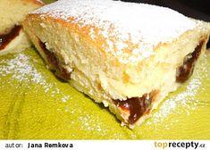 Úžasně rychlá tvarohová buchta s povidlím, chuť jako koláče, hned hotová recept - TopRecepty.cz Sandwiches, Cheesecake, Pie, Cooking, Sweet, Desserts, Food, Cakes, Fitness